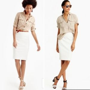 J. Crew tan cream classic pencil skirt 6